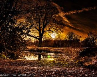 Sunset photograph. Sunset at Hatfield forest photograph. Fine Art Print