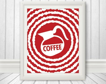 Coffee, Coffee Print, Coffee Art, Kitchen Quote, Kitchen Art, Coffee Abstract, Multiple Sizes