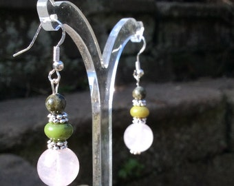 Connemara marble. Rose Quartz earrings. Irish Jewelry green gemstone gift craft