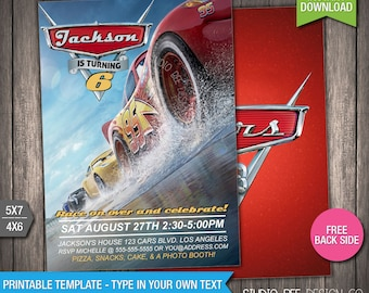 Cars 3 Invitation - 50% OFF - INSTANT DOWNLOAD - Printable Disney Cars 3 Birthday Invite - Lightning - DiY Personalize & Print - (CAin04)
