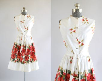 Vintage 1960s Dress / 60s Cotton Dress / Red Tropical Hawaiian Floral Border Print Dress w/ Waist Tie M