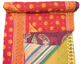 A Vintage Handmade Kantha Quilt, Boho Bedding, Vintage quilt, Kantha Throw, Reversible Quilt VKQ1466