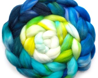 Merino, Alpaca, Nylon and Silk Handdyed Roving - Earth from Space, 5.2 oz.