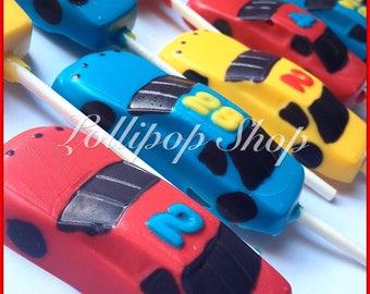 12 Race Car chocolate lollipops (Birthday, hot wheels party favors, race car party)