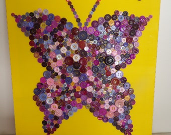 Button art Butterfly multicolored table