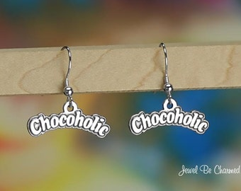 Sterling Silver Chocoholic Earrings Fishhook Solid 925 Chocolate Lover