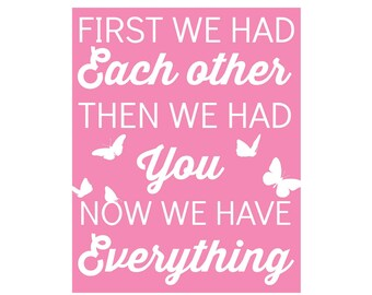 Girls Nursery Art - butterfly nursery, pink, now we have everything, playroom art, children wall art, butterfly - Nursery Print