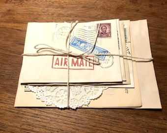 Handmade Coffee dyed Vintage style Airmail Stationary Set