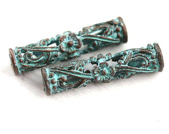 Long Tube metal beads Green patina copper beads Flower ornament 4mm hole Open work Greek metal casting findings 30mm tube - 2Pc - F122
