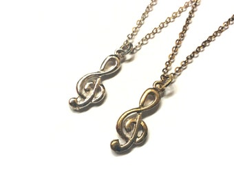 Treble G Clef Necklace: musical symbol charm, music themed jewelry