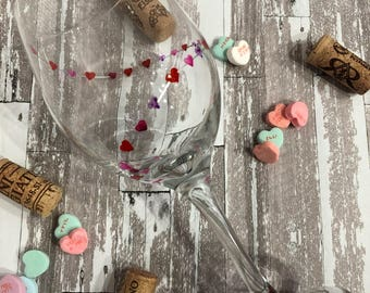 Hearts on a string hand painted wine glass, anniversary, valentines