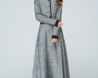 grey dress,linen dress,maxi dress,evening dress,fit and flare dress,women dresses unique,made to order,long sleeves dress,fall dress1578