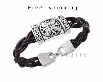 European Fathers day gifts, celtic bracelet, celtic leather bracelet, celtic jewelry, Custom made anniversary gift, Hand braided, Unisex