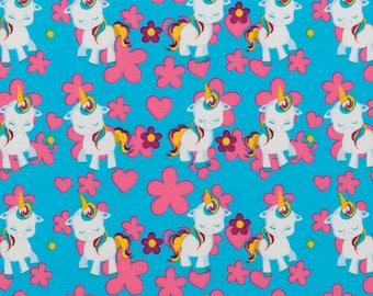 unicorn pony fabric, jersey. sk142