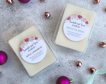 CHRISTMAS Scented Wax Melts Cubes, Beeswax and Soy Wax Melts Cubes (6 per pack)