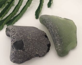 Sea Glass Corners, Bottom Pieces, Collectibles, Loose Gemstones, Jewelry Supplies, Large Sea Glass, Surf Tumbled, Authentic Rare Sea Glass
