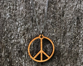 Laser cut Peace sign bamboo necklace