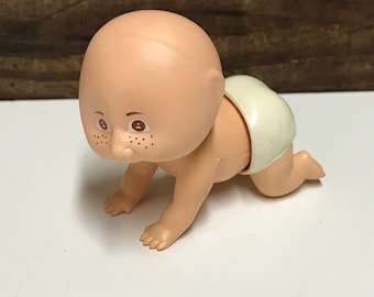 Vintage 1983 Tomy Baby Windup Toy, Vintage Crawling Baby Toy, Hard Plastic, Vintage Windup Toy, Vintage Tomy Windup
