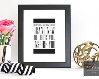 Alicia Keys- Jay Z- Empire State of Mind- Home Decor Print- Song Lyric Art- Hip Minimalist Decor- New York City- Bright lights will inspire