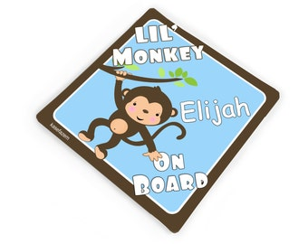 Lil monkey on board, baby boy car sticker, blue and brown accents - CD60S