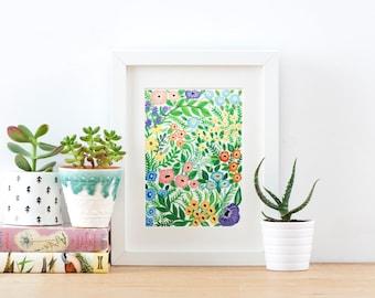 Wildflower Pattern Giclée Print | Floral Print | Giclée Print | Colourful Flower Patterned Print | Gouache Painting | 18 x 24 cm Art Print