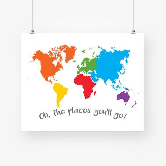 Large colorful world map nursery download world continents large colorful world map nursery download world continents kids room wall art decor poster printable digital print pdf instant download jpg gumiabroncs Gallery