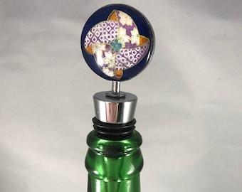 Japanese Pinwheel Pattern Chiyogami Wine Bottle Stopper