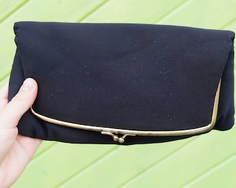 Vintage Black Clutch Evening Bag with Satin Interior and Coin Pouch