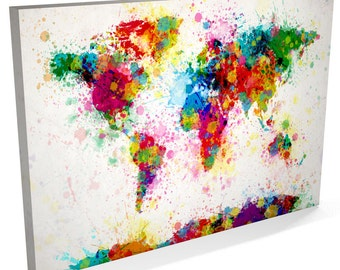 Paint Splashes Map of the World Map, Canvas Art Print (168)