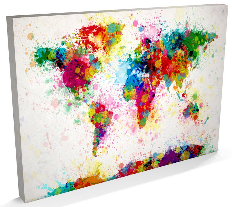 Paint Splashes Map Of The World Map Canvas Art Print - World map canvas