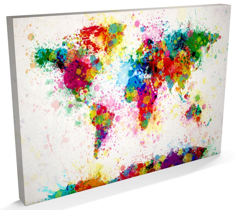 Paint splashes map of the world map canvas art print 168 zoom gumiabroncs Image collections