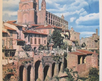 1950s Vintage French Travel Poster, Cathedrale d'Albi - Dieuzaide