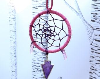 """Purple Crystal Arrow - Dreamcatcher - 3"""" in Diameter"""