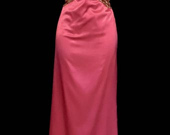 Hot Pink Satin Gown With Beading          VG255