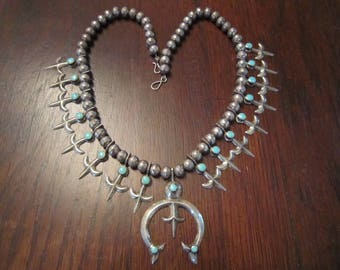 Navajo with Christian Lilies on Sterling Squash Blossom Necklace