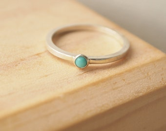 Turquoise Ring - December Birthstone Ring - Turquoise Ring Sterling Silver - Stacking Ring- December Birthday Gift - Birthstone Jewellery