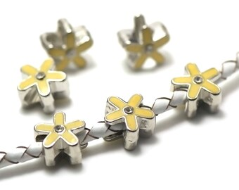 """2 passers-by beads enameled """"Star and rhinestone"""" yellow silver"""