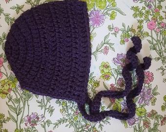 Baby Bonnet - Ready to ship roundback bonnet size 0-3 months in colour Violet