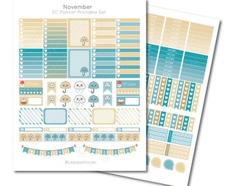 November Printable Planner Sticker Set, Erin Condren Life Planner, Instant Download