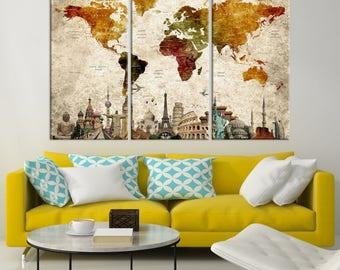 Large World Map Canvas Print, Wonder of World Map Push Pin Canvas Print, Large Wall Art World Map Push Pin Canvas, Framed Ready to Hang