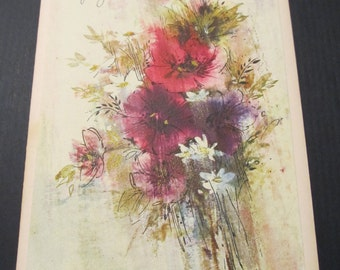 A Birthday Wish for You, floral wildflowers Greeting Card, Happy Birthday, Birthday Card, FREE SHIPPING
