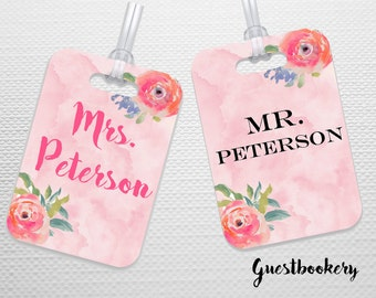 Personalized Luggage Tag - Customized Luggage Tag - Mr and Mrs Tags - His and Hers Luggage Tags - Bridal Shower Gift - Wedding Gift