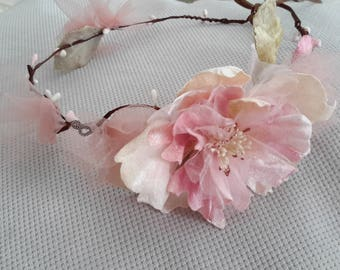 Pink large flower Crown headband
