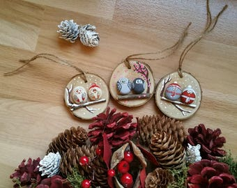 Original and so cute Christmas tree toys made from wood, wooden ornaments for rusric house, beautiful Christmas wooden decor, funny birds