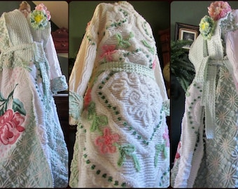 Heirloom Stained Glass Chenille Robe  with Double HOLLYHOCK Corsages ~  Elaborate Rose Designs on this Handmade Bathrobe  ~ May fit up to 1x