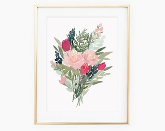 February Watercolored Floral Bouquet Art Print