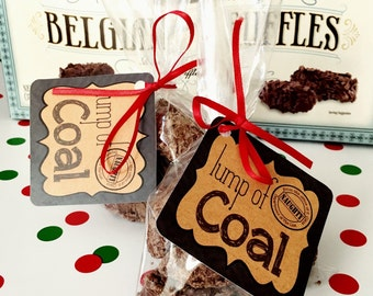 Lump Of Coal Gift Tags and Gift Bag Toppers. Perfect For Those On Your Naughty List! Instant Digital Download