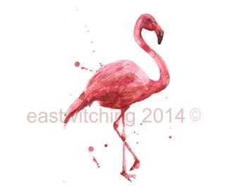 WATERCOLOR flamingo, 8x10 print, ready to frame, beach house art, flamingo painting