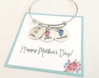 Birthstone Bracelet for Mom - Mom Gift - Mom Bracelet with Kids Names - Birthstone Bracelet - Personalized Bangle Bracelet