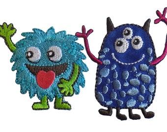 Pack of 2 Friendly Monsters Embroidered Iron On Appliques